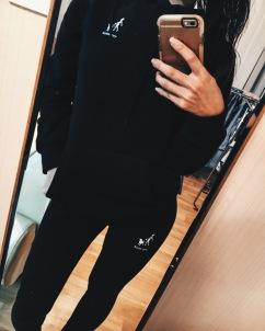Closer up of hoodie and leggings